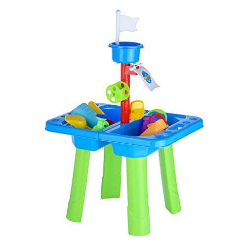 (Sand and Water Play Table, Activity Square Table Game Children Summer Beach Toy Sandglass Play Tools for Kids Outdoor Yard (21PCS))
