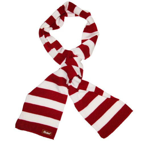 Mashed Clothing Red And White Striped Thick Knit Winter Scarf - Assorted Colors (Red & White)