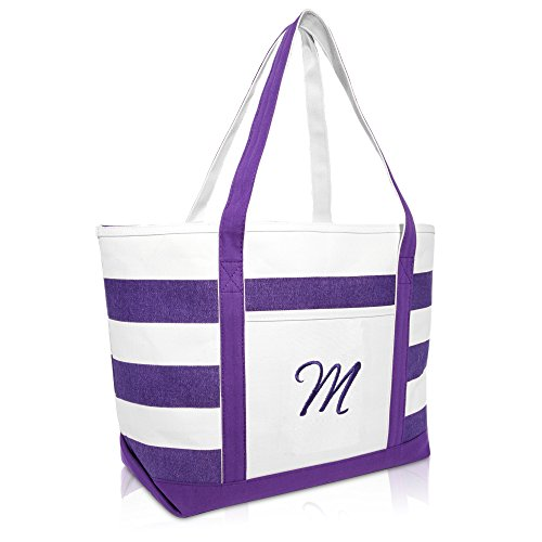 DALIX Monogrammed Beach Bag and Totes for Women Personalized Gifts Purple M