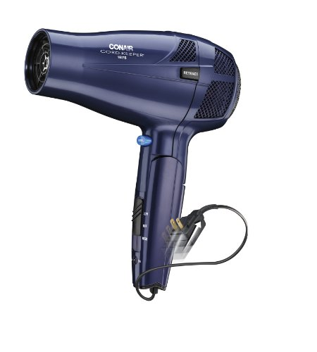 Conair 1875 Watt Ionic Conditioning Cord Keeper Styler / Hair Dryer with Folding Handle; Blue