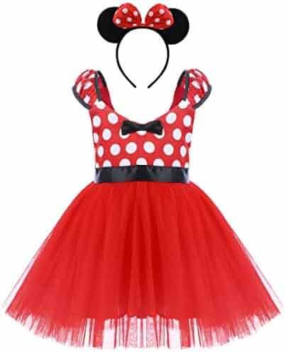 2e45c6e435814 Minnie Costume Girls Polka Dots Cosplay Birthday Fancy Dress Up + Mouse  Ears Headband Baby Xmas
