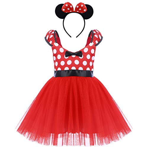 (FYMNSI Girls Polka Dots Minnie Birthday Princess Tulle Tutu Dress Christmas Carnival Costume with Headband Red 18-24)