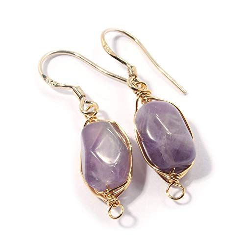 Natural Stone Wire Wrap Dangle Drop Earrings Gold Plated 925 Sterling Silver Hook/Rough Amethyst