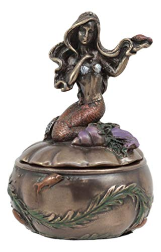 - Ebros Bronzed Resin Mermaid Ariel Sitting On Oyster Shell Small Jewelry Box Figurine 3.5