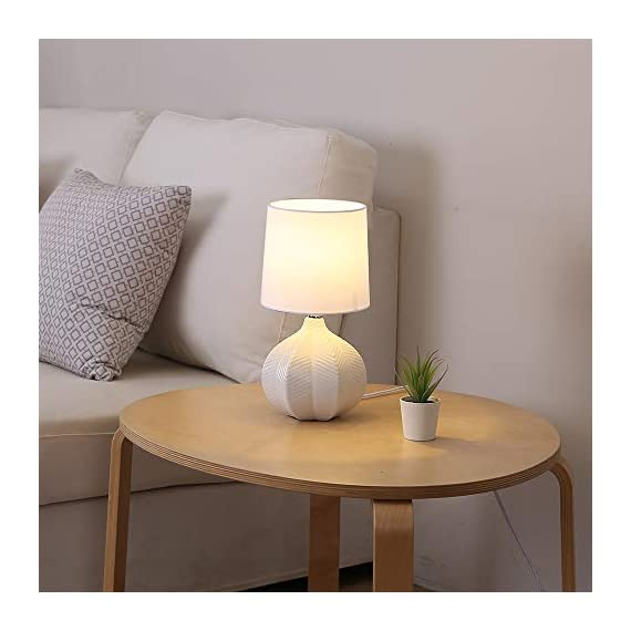 "SOTTAE Modern Style Small Ceramic Milk Color Unique Desgin Bedside Table Lamp, Cute Desk Lamp with White Fabric Shade for Livingroom Bedroom - Small cute size: Diameter: 7.09"", Height:13.2"", Attention: please clearly the size when you look through our product. Input: AC 110V - 120V. Lamp Can be used with LED, CFL, Incandescent Medium base bulbs(Bulbs are not included). Elegant design: Modern style, simple and chic ceramic lamp body with white fabric lampshade. - lamps, bedroom-decor, bedroom - 414bIeYRPBL. SS570  -"