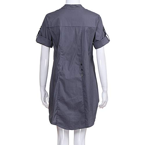 Encolure Blouse Chemisier Longues Chic Boutons Femme en Manches Gris Femmes Challeng Chemises Tops V Solides gTUZwqncvx