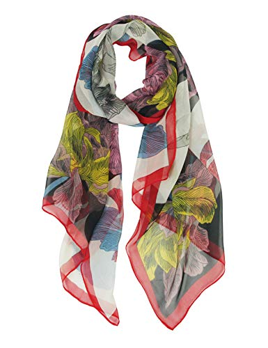 Long Chiffon Sheer Scarf Flowers - Pantonight Patchwork Printed Lightweight Scarf For Womens (Red 718)