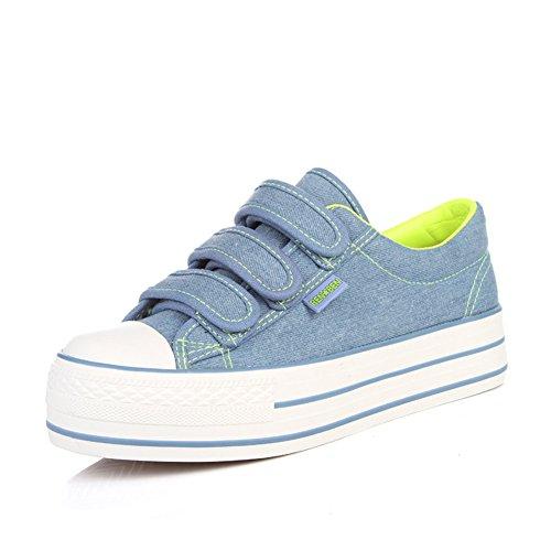 zapatos de lona de mujeres/Dulces y zapatos del estudiante bajo/Zapatos de plataforma mujer suela gruesa de color sólido D
