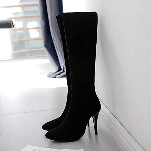 Femmes Longue Bottes Genou Taoffen Simple Noir Haut Chaussures Talon Zipper dEtqxxUn