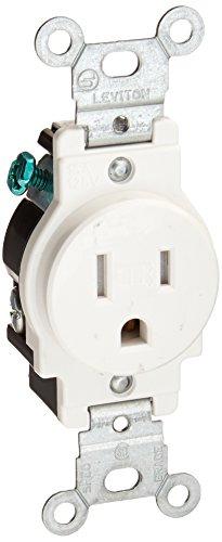 2-Pole Commercial Grade Tamper-Resistant Single Receptacle, White, Nema 5-15R, 125 Volts, 15 Amps ()