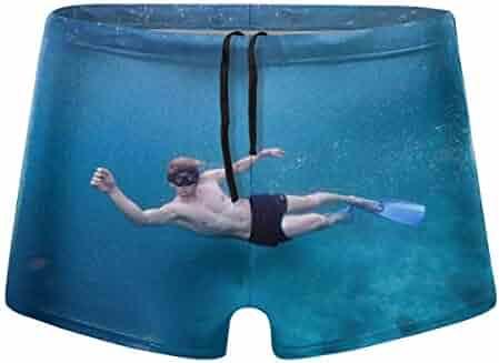 G66TCX Mens Boxer Swimwear Board Shorts Solid Basic Long Swim Boxer Swimsuit Swim Underwear
