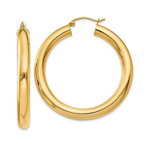 Hoop 5mm Earrings Medium (14K Yellow Gold Thick Tube Hoop Earrings with Click-Down Clasp, 1.6 In (40mm) (5mm Tube))
