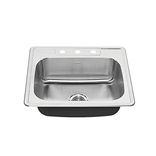 Ada Bowl - American Standard 22SB.6252283S.075 Colony Top Mount ADA 25x22 Single Bowl Stainless Steel 3-hole Kitchen Sink,