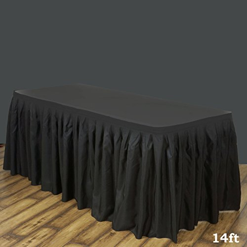 LinenTablecloth 14 ft. Accordion Pleat Polyester Table Skirt Black by LinenTablecloth (Image #2)