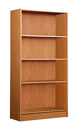 Mylex 47.5 Inch Bookcase, One Fixed and Three Adjustable Shelves, 47.5 x 24.75 x 9.5 Inches, Oak, Assembly Required (42340) (Fixed Shelves Three)