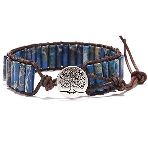 Bonnie Boho Friendship Handmade Leather Bangle Bracelets Single Wrap Imperial Jasper Stone Beads Wrap Bracelet Women Men for Gift - 10 Inch Jasper