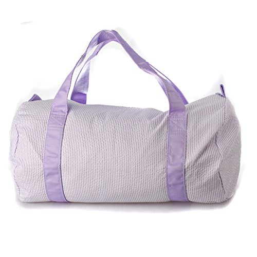 Personalized Oh Mint traveling and sports duffel bag embroidered with your name from our variety of fonts and colors (Lilac seersucker) ()