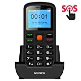 "Unlocked Cell Phone, UNIWA Dual SIM Senior Phone GSM Cell Phone 1.77"" Large Screen Big Digital Button Old Man Emergency Phone Easy to Use Features Phone with SOS Button Speed Dial FM Radio Flashlight"