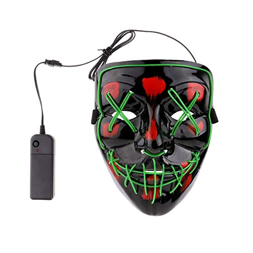 iEFiEL Adults EL Wire Glow LED Light up Mask Scary Accessory Halloween Cosplay Festival Parties (Steady/Slow/Fast Flash) Dark Green One Size ()