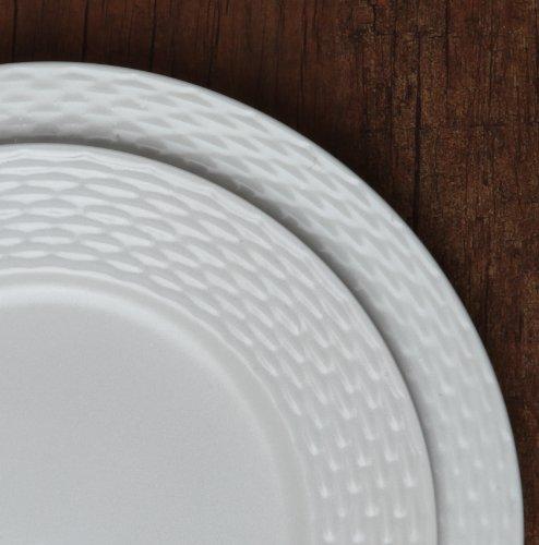 Melange 40-Piece Porcelain Dinnerware Set (Nantucket Weave) | Service for 8 | Microwave, Dishwasher & Oven Safe | Dinner Plate, Salad Plate, Soup Bowl, Cup & Saucer (8 Each) by Melange (Image #1)