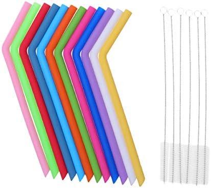 HEALLILY 1 set herbruikbare siliconen rietjes met 6 reinigingsborstels