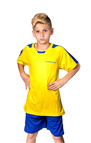 (PAIRFORMANCE Premium Soccer Uniforms for Kids, Sizes 4-12, Boys and Girls Sports Activewear Color Shirts and Shorts (Yellow, Small))