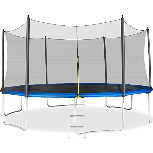Merax 14FT 15FT Trampoline with Safety Enclosure Net, Safety Pad and Ladder, Trampoline for Kids