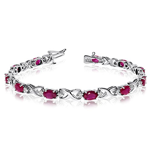 14k-White-Gold-Natural-Ruby-And-Diamond-Tennis-Bracelet