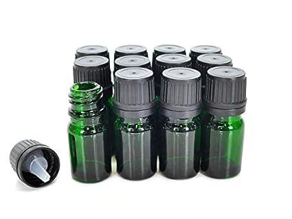 ljdeals 5 ml Botellas de vidrio botella de aceite esencial con cuentagotas Euro negro Cap verde