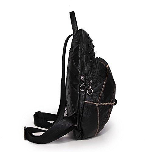 Véritable The Sac Dos Mode La Cuir Backpack Otomoll line Fait Main Match All En yellow À Femme Coréenne FWIHPPnz