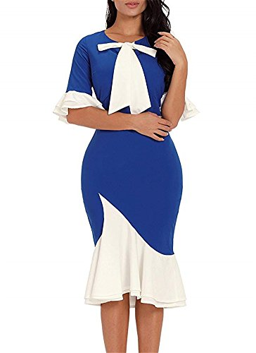 s Sleeve Bow Women Vintage Dress Cocktail Bodycon BeneGreat Blue Flounce Pussy Mermaid Midi CYU5wwq