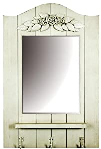White Wooden Wall Mirror with Shelf and Hanging Hooks ...