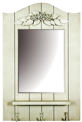 White Wooden Wall Mirror With Shelf And Hanging Hooks Amazon Co Uk