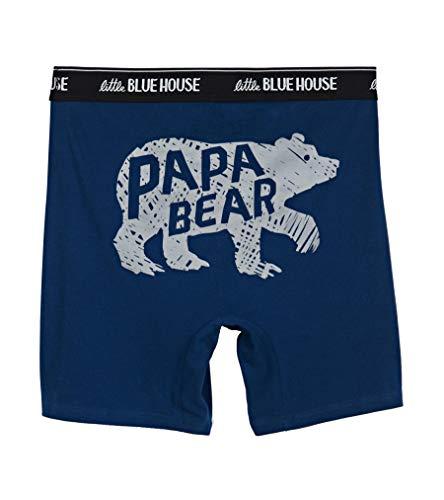 Little Blue House by Hatley Men's Bear & Moose Joke Boxers, Papa Bear, X-Large