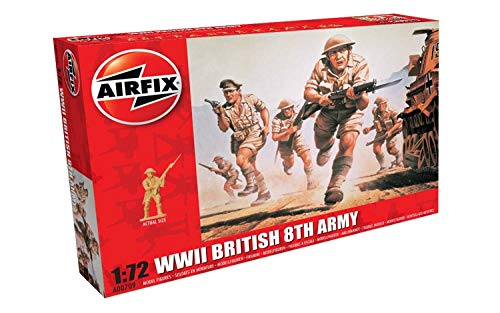 Airfix WWII British 8th Army Figures 1:72 Military Soldiers Plastic Model - Weapons Infantry British