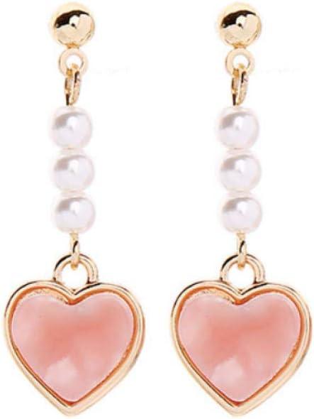 Empty Pendientes de Gota de Perlas de imitación de corazón de acrílico Rosa romántico para Regalos de Mujeres Joyas de Moda