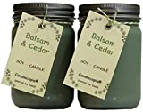 Candlecopia Balsam & Cedar Strongly Scented Hand Poured Premium Soy Candles, 12 Ounce Pewter Lid Canning Jar x 2-Pack