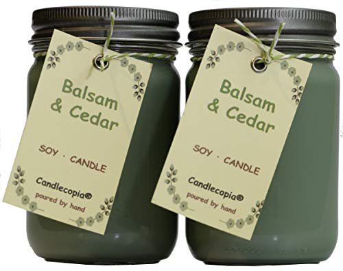 Candlecopia Balsam & Cedar Strongly Scented Hand Poured Premium Soy Candles, 12 Ounce Pewter Lid Canning Jar x 2-Pack by Candlecopia