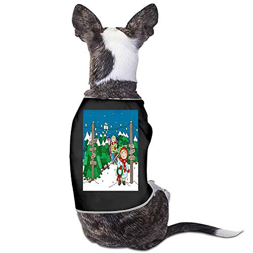 StyleDirect Clothes Puppy Cute Pajamas Dog Cotton Body Suit Cats,Birds Christmas Tree Coat Lights Scarf Snow Wreath Lot Jumpsuits Cozy Apparel Dogs(Black)-S ()