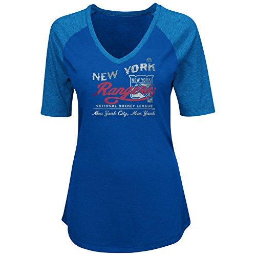 (Profile Big & Tall NHL New York Rangers Adult Women NHL Plus Short Sleeve Vneck Heather Tee with Screen,3X,Royal/Heather)