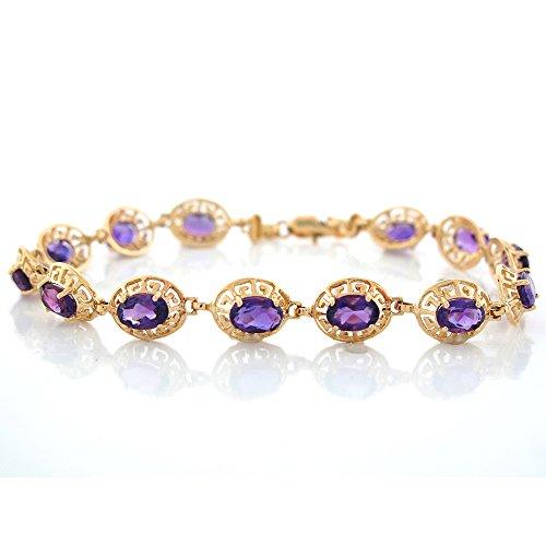 10k Amethyst Bracelet (10k Yellow Gold Natural Amethyst Petite Greek Key Design Ladies Bracelet)