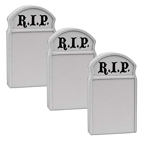 (Set of 3 Plastic Toy Tombstones for Action Figures, Dioramas, Models)