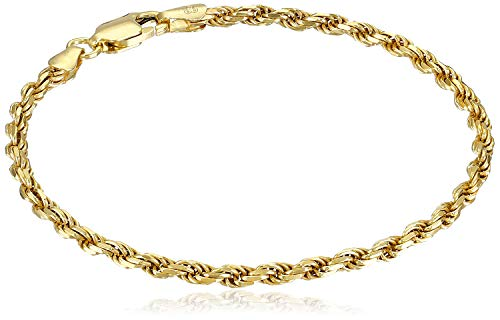Amazon Essentials Yellow Gold Plated Sterling Silver Diamond-Cut Rope Chain Link Bracelet, 7