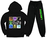 Allison polly Youth Mi-necraft Hoodie and Sweatpants 2 Piece Fashion Pullover Track Suit for Boys Girls Kids