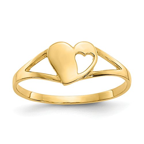 ICE CARATS 14kt Yellow Gold Heart Baby Band Ring Size 2.00 Fine Jewelry Ideal Gifts For Women Gift Set From Heart