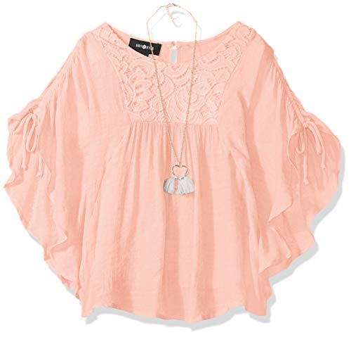 Amy Byer Girls' Big' Poncho Style Top, Garden Rose, -