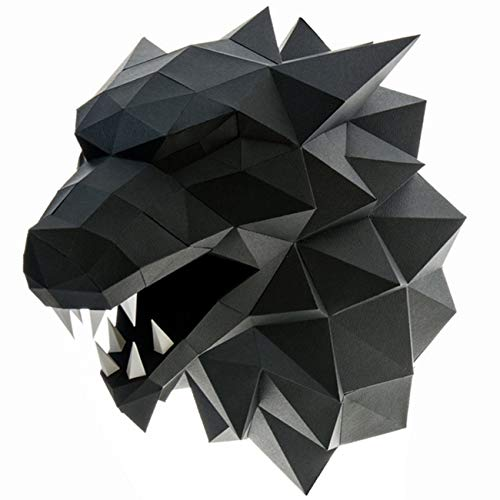 Paperraz-3D-Wolf-Head-Animal-Building-Trophy-Puzzle-Low-Poly-PaperCraft-Kit-for-Adults-Teens-NO-Scissors-Needed