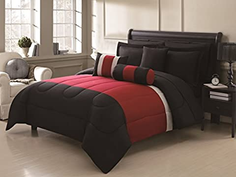 Chic Home Serenity 10 Piece Comforter Set Complete Bed in a Bag Stripe Pattern Bedding with Sheet Set And Decorative Pillows Shams Included, King Black Red