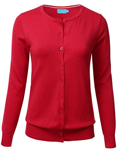 FLORIA Women Button Down Crew Neck Long Sleeve Soft Knit Cardigan Sweater RED L