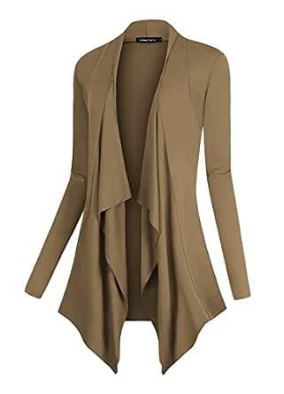 Urban CoCo Women's Drape Front Open Cardigan Long Sleeve Irregular Hem (S, Camel)